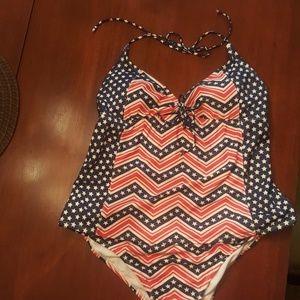 2 piece patriotic swim suit.
